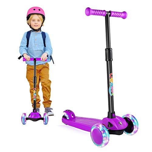 BELEEV Roller Kinder Scooter 3 Räder für Mädchen & Jungen, Kinderroller mit Led Licht Räder, 5 Einstellbarer Höhe, Lean-to-Steer, Klappbar Kleinkinder Kinderscooter(Violett)