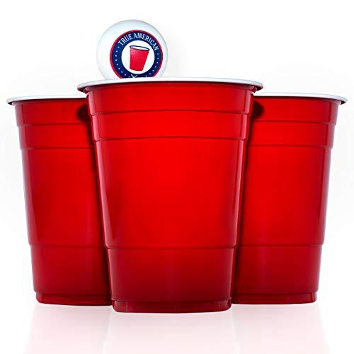 True American Beer Pong Becher Set — 50 Original Red Cups + 3 Bälle + Spieleanleitung — Extra Starke & Wiederverwendbare Rote Becher (16oz/473ml)