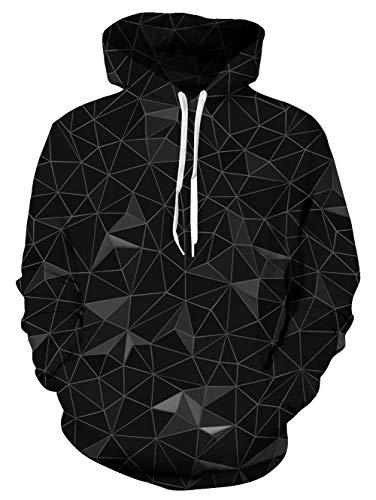 TUONROAD Hoodie Hombre Funny Geométrico 3D Impreso Negro Sudaderas Con Capucha Ligero Unisex Sweatshirt Confortable Pullover Colorido Manga Larga Sweater Hoody Con Bolsillos Cordón S-M