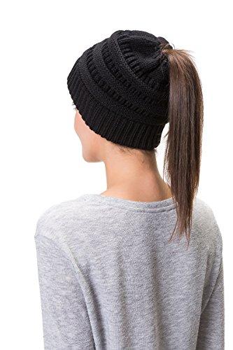 Lemef Damen Wintermütze Mütze Beanie Hat Cap Gestrickte mit Zopfloch Pferdeschwanz, Black, Einheitsgröße