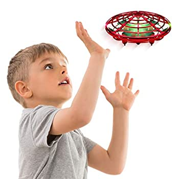 Force1 Scoot Hand Operated Drone for Kids or Adults - Hands Free Motion Sensor Mini Drone Easy Indoor Small UFO Toy Flying Ball Drone Toy for Boys and Girls  Red