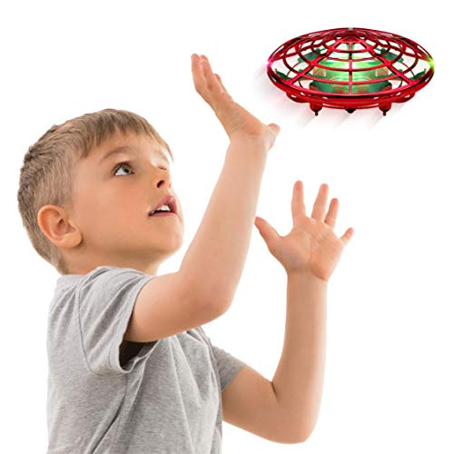 Force1 Scoot Hand Operated Drone for Kids or Adults - Hands Free Motion Sensor Mini Drone, Easy Indoor Small UFO Toy Flying Ball Drone Toys for Boys and Girls (Red)