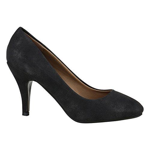 Klassische Damen Pumps High Heels Leder-Optik Schuhe Bequem 151942 Schwarz Autol 39 Flandell