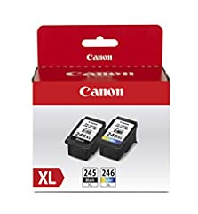 The PG-245 XL Black ink is used for printing documents on plain paper and ensures sharp black text, and the CL-246 XL Color ink is used for printing colorful photos and images. XL capacity ink cartridges can help you save money, print more when you n...