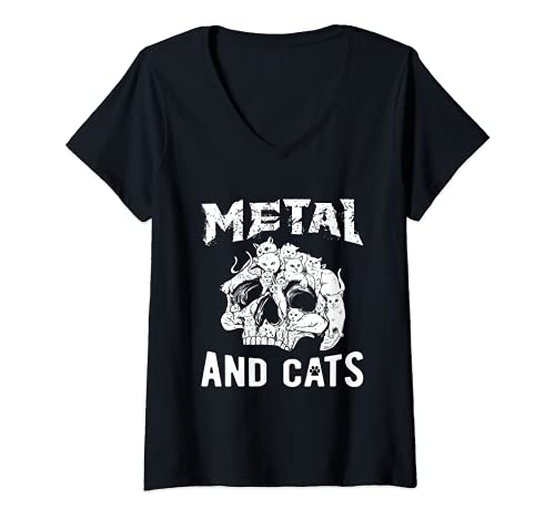 Mujer Heavy Metal - Metal Y Gatos - Hard Rock Biker Rockabilly Camiseta Cuello V