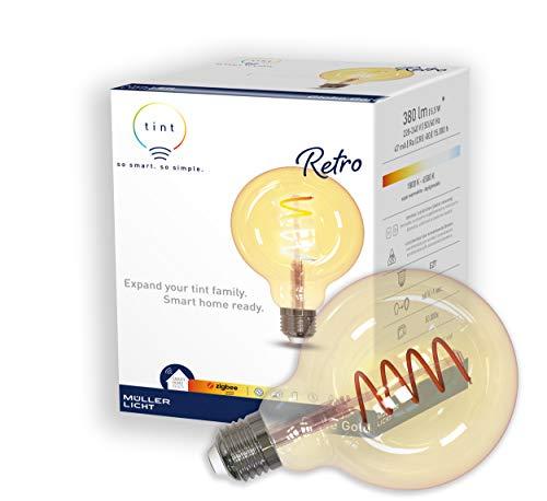 tint von Müller-Licht Smarte Retro LED Lampe E27, Globe Gold, white+ambiance (Weißtöne 1800-6500K), dimmbar, 5,5W ersetzt 34W Lampe, Zigbee, funktioniert mit Amazon Alexa