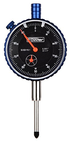 """Fowler Full One Year Warranty 52-520-110-1 1"""" Brass Premium Dial Indicator, Black Face, 1' Total Travel"""