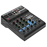 Dpofirs 25W 48V 4 Channel Multifunctional Audio Mixer, USB Plug and Play Professional Audio Mixing with Sound Card Stage Equipment, Suitable for Karaoke Music Production(black)