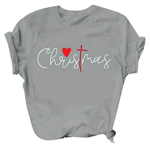 JUTOO Weihnachten Damenmode O-Ausschnitt Kurzarm Casual Cute Holiday Shirt Blouse...