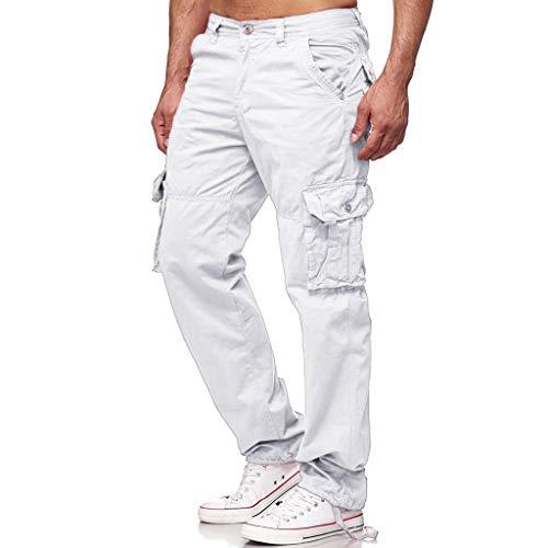 EUCoo Pantalons de survêtement pour Hommes Casual Joggings élastiques Sport Solid Baggy Pockets Trousers(Blanc,XL)