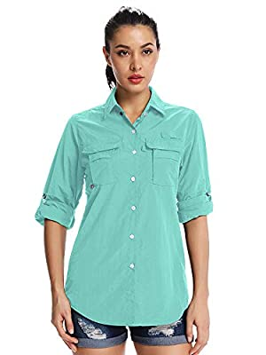 Women's Quick Dry Sun UV Protection Convertible Long Sleeve Shirts for Hiking Camping Fishing Sailing,5055,Green,L