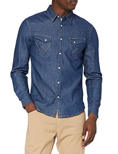Wrangler Herren LS Western Shirt Freizeithemd, Dark Stone, M