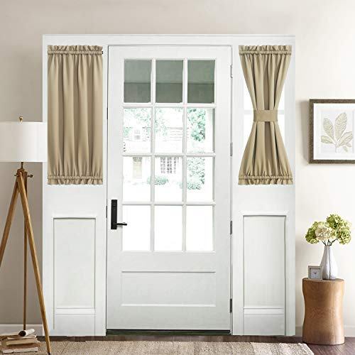 """Aquazolax Thermal Insualted French Door Curtain - Blackout Door Panels 25""""x40"""" Window Treatment Drapes Privacy - Single Panel, Taupe/Khaki"""