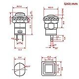 WayinTop 18pcs 12mm Interruttore a Pulsante DIY Autobloccante On//Off SPST Mini interruttore a tromba rotonda 3A 125V AC//1.5A 250V AC Kit per Arduino DIY Nero//Rosso//Verde//Giallo//Blu//Bianco