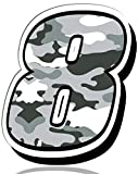 Biomar Labs® 1 x Vinilo Adhesivo Número 8 Camuflaje Militar Camouflage Sticker Gris Pegatina Coche Auto Motocross Moto Sport Start Racing Rally Tuning N 238