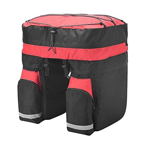 Roswheel 3 in 1 60L MTB Biciclette Carrier Bag, Posteriore Porta Bici del Tronco Sacchetto dei Bagagli Pannier Sedile Posteriore Double Side Ciclismo Bycicle Bag 14590 con parapioggia - Rosso