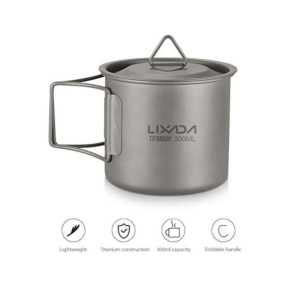 Lixada Titanium Cup Portable Camping Picnic Water Cup Mug with Lid Foldable Handle 300ml / 350ml / 420ml / 550ml / 650ml / 750ml