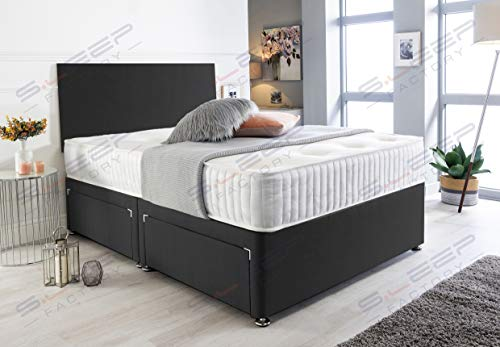 Sleep Factory's Black Suede Memory Foam Divan Bed Set With Mattress And Headboard 3ft 4ft 4ft6 5ft 6ft Single Double Small UK King Super King (5.0FT (King Size), No Drawers)