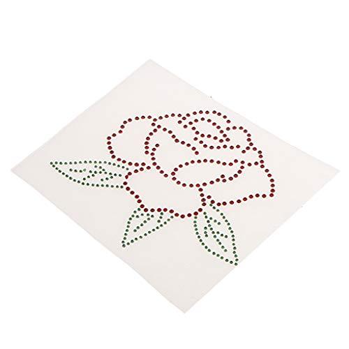Strass Motiv Bügelbild - Rose Blume, Glitzerndes Strassstein Applikation Bügelmotiv auf Folie zum Aufbügeln und Aufkleben