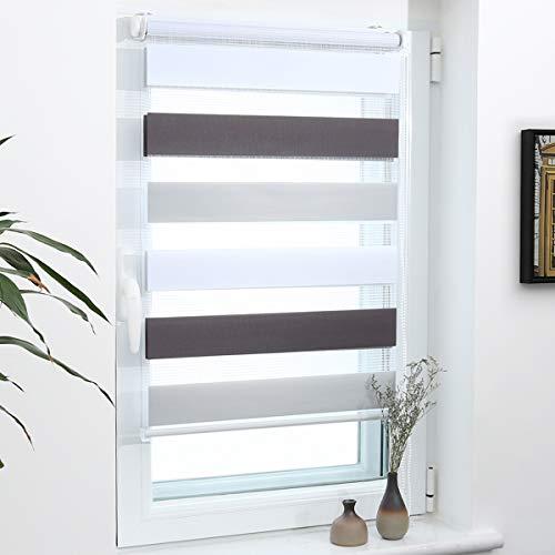 Grandekor Doppelrollo Duo Rollo Klemmfix ohne Bohren lichtdurchlässig und verdunkelnd Fensterollos Sonnenschutz für Fenster und Tür - Weiß-Grau-Anthrazit 80x150cm (BxH) / Stoffbreite 76cm