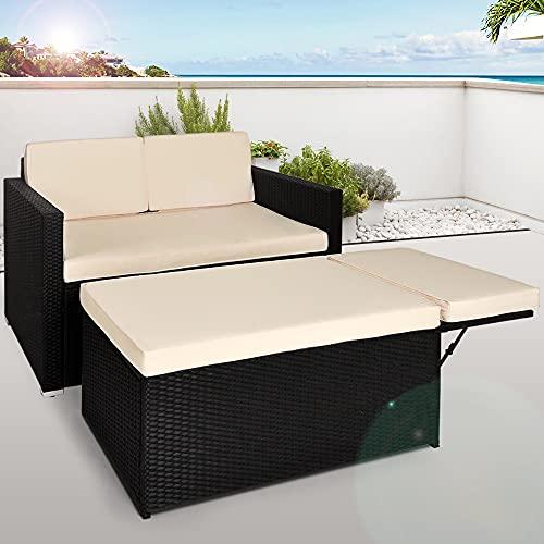 Deuba Poly Rattan Lounge Sofa 2 Sitzer Sitztruhe mit Stauraum Dicke Auflagen Relaxliege Sonnenliege Couch Set Schwarz - 2
