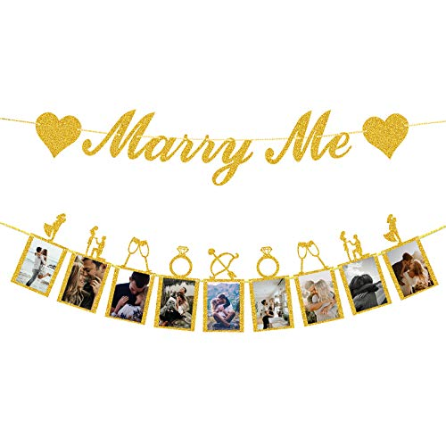 Marriage Proposal Decorations Gold Marry Me Banner and Photo Banner with Picture Card Frames for Marriage Proposal Ideas Wedding Proposal Decorations.(Gold Glitter)