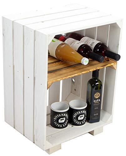 Kistenkolli Altes Land Nachttisch weiß mit geflammtem Ablagefach Holzkiste Regalkiste Ablagetisch Abstelltisch Obstkiste