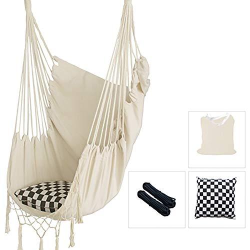 Balançoires YXX Chaise hamac avec 2 Cordes en Coton, Chaise pivotante Suspendue d'une capacité de 120 kg pour intérieur, extérieur, Chambre à Coucher, Patio, Jardin, Jardin (Color : White)
