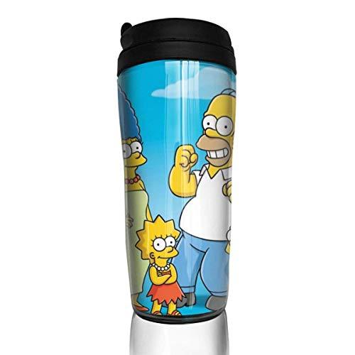 haiyou Simpsons - Tazas de café con aislamiento de doble pared reutilizable, conveniente para llevar, tapa de taza interruptor de salida de agua, hermoso y práctico