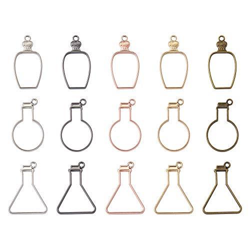 Cheriswelry 30pcs Open Back Bezel Pendants Perfume Bottle Shape UV Resin Press Flower Charms Geometric Hollow Trays Molds 5Colours for DIY Epoxy Resin Jewellery Making