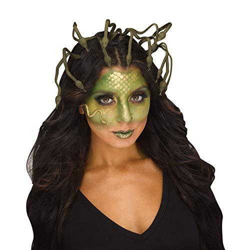shoperama Tocado de serpiente flexible Medusa, color verde/dorado, corona de mitologa griega