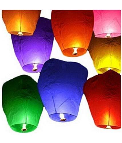 Jsk collection Diwali Lights Sky Lanterns - Pack of 10 (Multicolour)