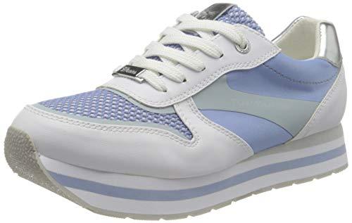TOM TAILOR Damen 1195510 Sneaker, White-Blue, 37 EU