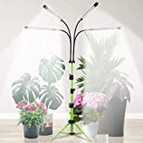 Grow Light with Stand, 5500K Four-Head Plant Light for Indoor Plants, Sunlight Full Spectrum Floor Growing Lamps with 4/8/12H Timer, 5-Level Dimmable & Tripod Stand Adjustable 15-47In