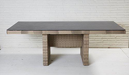 La Casa di Caesar Esstisch Turin Natur Geflecht Polyrattan Spraystone-Finish Gartentisch Dining Table