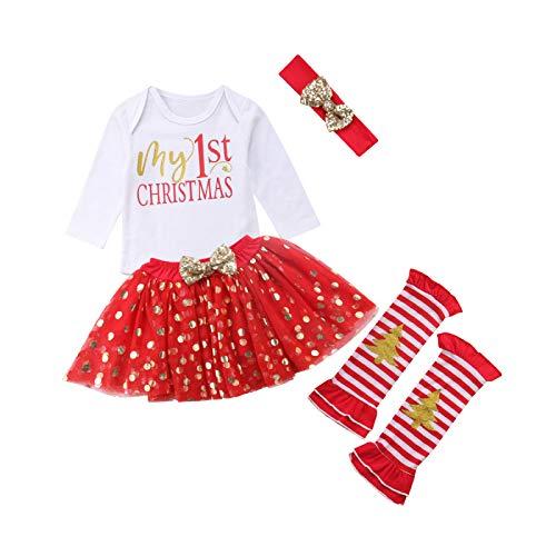 Traje Navidad para Bebé Niña 4 Piezas Conjunto de Recién Nacida Mameluco de Manga Larga con Letra My 1st Christmas Falda de Tul Diadema Calentador de Rodilla (0-24 Meses)