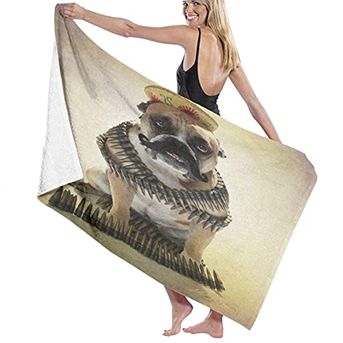 KAYLRR Toallas de baño,Bulldog Bandito and His Tiny Hat,Super Soft,High Absorbent,Large Towel Blanket for Bathroom,Beach or Swimming Pool,52' x 32'
