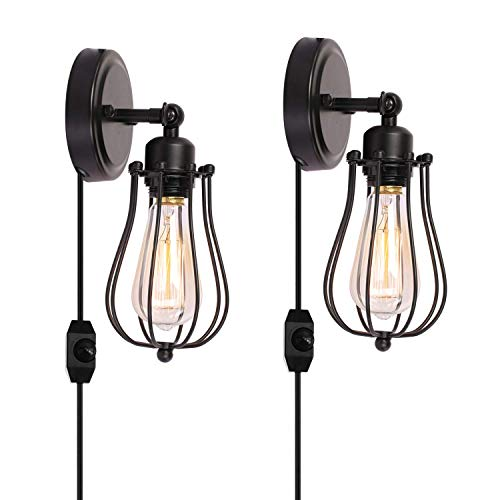 Kingmi Wire Cage Industrial Wall Sconce Plug-in Wall Light Shade Vintage Style Edison E26 Base