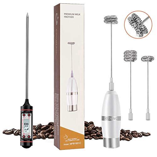 YITHINC Elektrischer Milchaufschäumer mit Drei Quirl und Koch-Thermometer für Kaffee/Latte/Cappuccino/Chocolate, Batteriebetrieb, Extra Starker Motor mit 19000 U/min