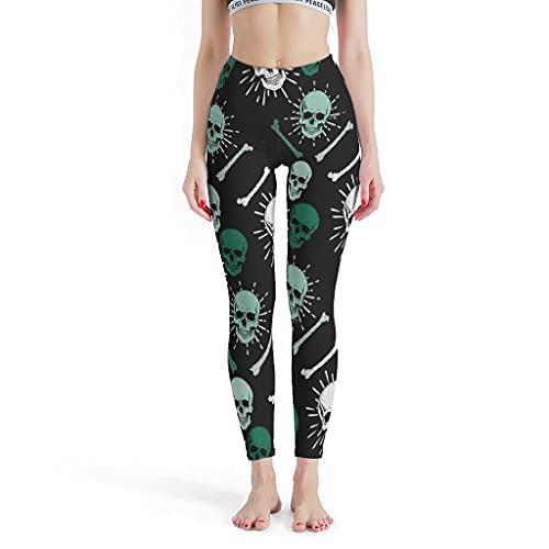 Leggings de mujer con diseño de calavera, para hacer yoga, etc. blanco XXL
