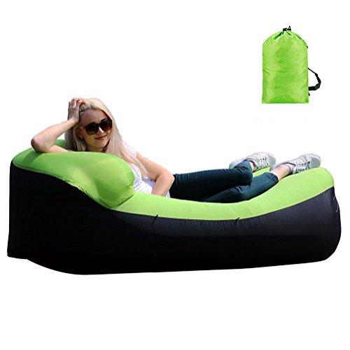Aufblasbares Sofa Wasserdichtes Luftsofa Tragbarer Aufblasbarer Sitzsack Aufblasbare Air Couch Outdoor Liege Integriertem Kissen für Reisen, Camping, Strand (Grün)