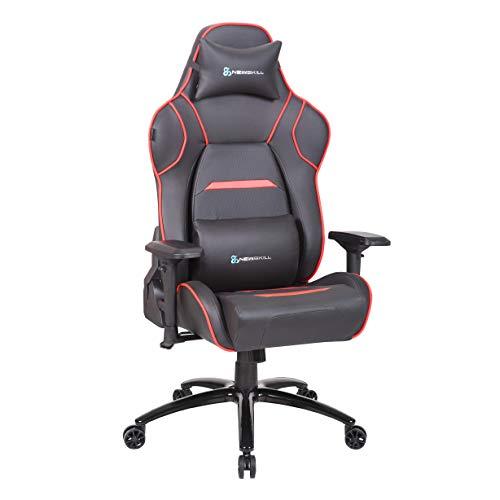 Newskill NS-CH-VALKYR-RED Valkyr - Silla gaming profesional con asiento microperforado para mejor sensación térmica (sistema de balanceo y reclinable 180 grados, reposabrazos 4D) - Color Rojo, mediano