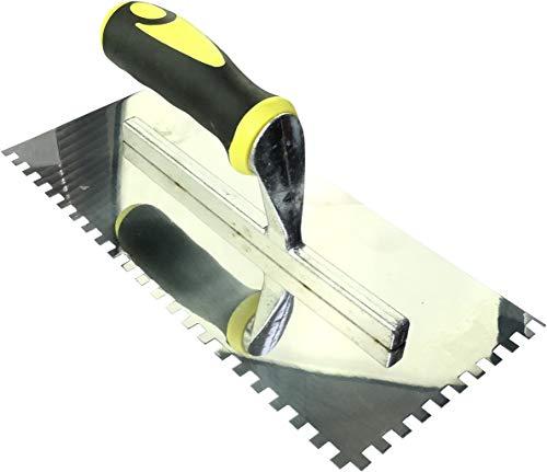 AERZETIX - Llana/Talocha dentada 6x6mm - llana dentada para baldosas - Espátula de dientes - Herramienta manual para construcción - Albañilería/Mampostería/Yeso - Mango Bi-Materia - Acero - C45916
