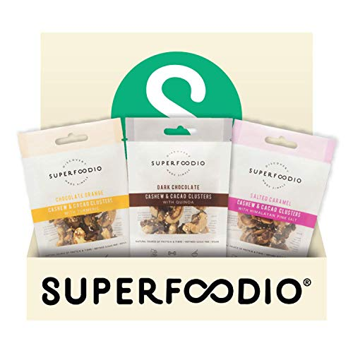 SUPERFOODIO Chocolate Trio Taster Pack | Vegan, All-Natural, No Refined Sugar, Delicious Healthy Snacks, Source of Protein & Fibre - (30g x 3 Variety Packs)