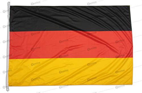 Deutschlandfahne 225x150cm aus nautischem Windschutzgewebe von 115 g/m2, waschbare deutsche flagge 225x150, Institutionell Deutschland flagge 225x150 mit schnur, Kappnaht und Verstärkungsband am Rand