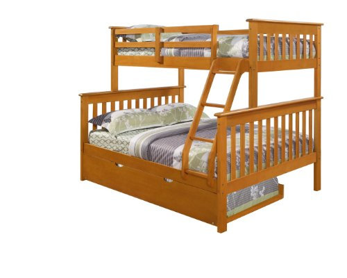 DONCO Twin Over Full Mission Bunk Bed-Fixed Ladder-Honey with Trundle