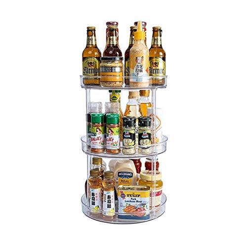 ASY Organizador Giratorio Rack de Especias giratorias 1/2/3 Niveles de plástico Armario de Cocina Almacenamiento Giratorio Organizador Giratorio para Especias y condimentos Cosméticos