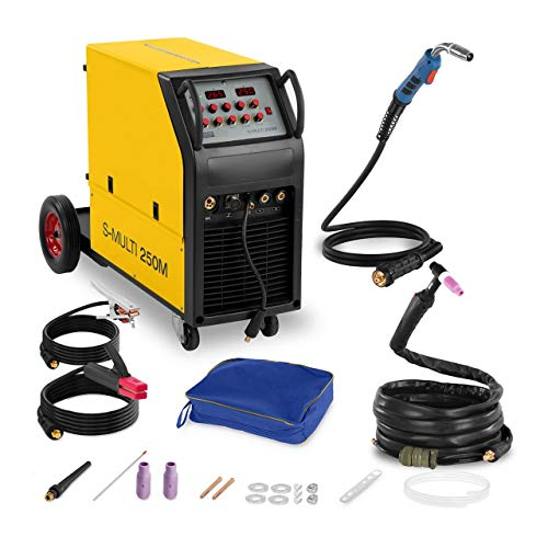 Stamos Welding Kombi-Schweißgerät Schweißmaschine MIG/MAG MMA WIG FCAW S-MULTI 250M (400 V, 250 A/Duty Cycle 60%, Hot Start, Arc Force, Anti-Stick, 2-Takt / 4-Takt)