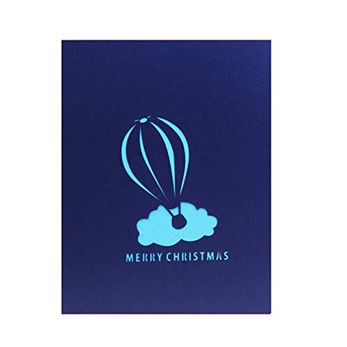 Latex folie ballonnen, KimcHisxXv Kerstman Hot Air Ballon 3D Pop Up wenskaart ansichtkaart kerstcadeau - blauw Blauw
