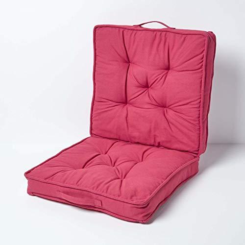Homescapes Sitzauflage/Autokissen mit Rückenteil und Befestigungsbändern, weinrot, Sitzerhöhung/Sitzkissen für Autositze ca. 50 x 50 cm mit Bezug aus 100% Baumwolle